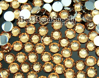 3MM SS12 1000 Pieces Champagne Gold Resin Flatback Rhinestones 14 Facet