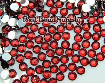 6MM SS30 250Pieces Ruby Red Siam Resin Flatback Rhinestones 14 Facet