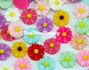 100 pcs 13mm Resin Daisy Flower Cabochon Beads Kawaii Deco Den Scrapbook