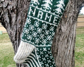 Evergreen Stocking - hand knit, custom name available,  made to order
