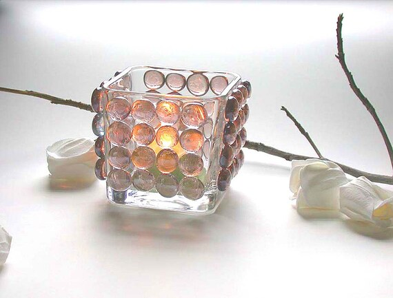 Items similar to Candle Holder Home Decor Lilac Glass ...