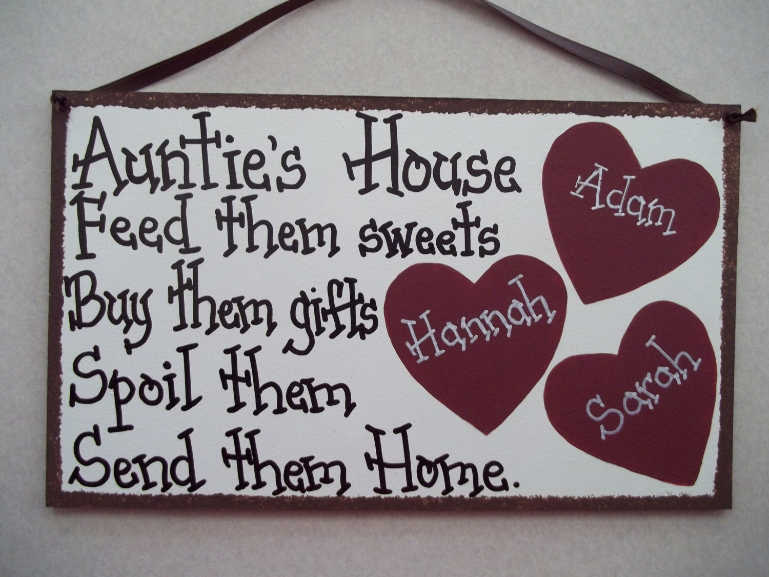 AUNT Auntie Sign 3 Heart Personalized Sign Nana Grammi Great