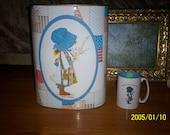 Vintage Holly Hobbie Trash Can and Holly Hobbie coffee Mug