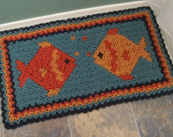 Crochet Rug Pattern: Wiggly Crochet Fish Rug, PDF download