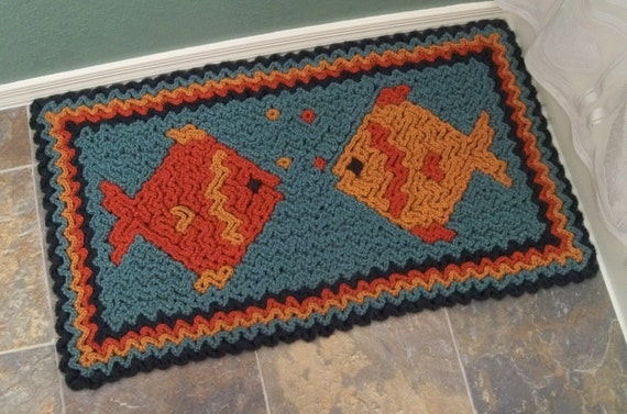Crochet Rug Pattern: Wiggly Crochet Fish Rug PDF download