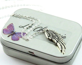 Forever Angel Wing Necklace, Silver Charm Necklace, Angel Wing Charm Necklace, Silver Neckless, Silver Wing, Angel Wing Pendant,