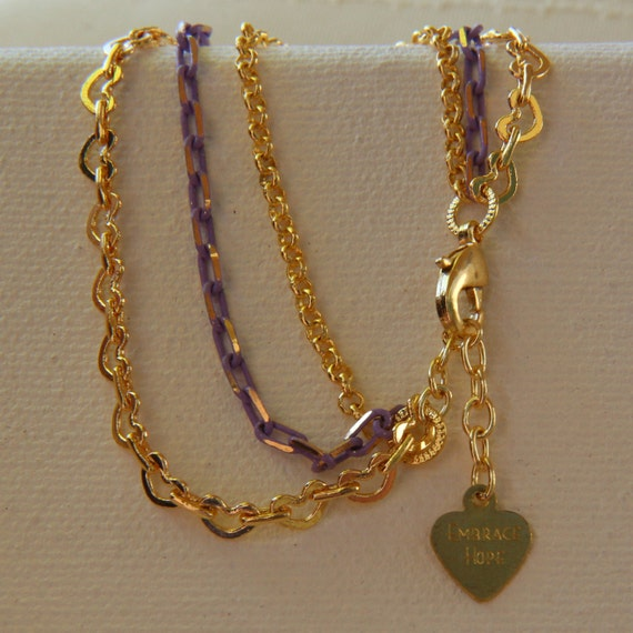 Ann Bracelet - 3-strand, gold-plated kidney-chain link combined with purple and brass chain