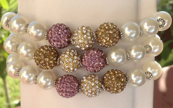 The Giver Bracelet - pave bead trio with white faux pearls