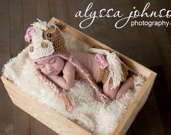 Crocheted Handmade Horse Hat and Diaper Cover