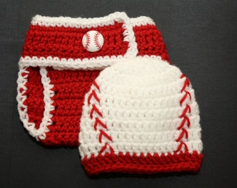 Newborn red and white baseball hat with matching diaper cover