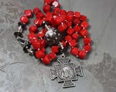 Saint Benedict Necklace, Coral Beads Necklace, Spiritual Ethnic Jewelry, Hand Knotted Silk Necklace