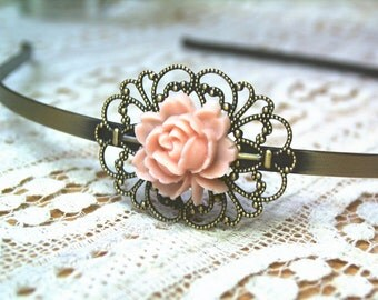 Antique-style headband bronze rose soft pink