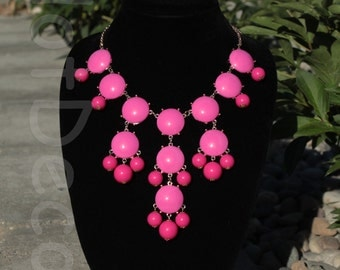 Hot Pink Jewellery Bubble necklace Statement Necklaces for women Bib Jewlery Beaded Necklace Chunky Necklace Cluster Necklace for holiday