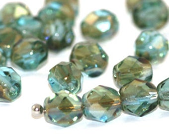 Aqua Celsian 6mm FirePolish, Faceted Round Fire-polished Czech Glass Beads x 25