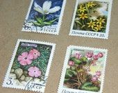 Set of 10 Soviet Vintage Postal Stamps Forest Flowers - Floral Botanical Collectible - USSR Soviet Union - CCCP - Russian