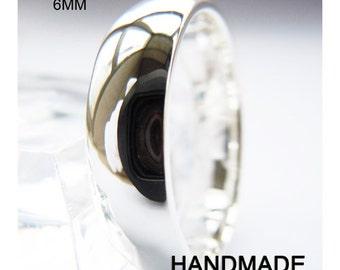 Handmade 6mm Sterling Silver Plain Band Ring