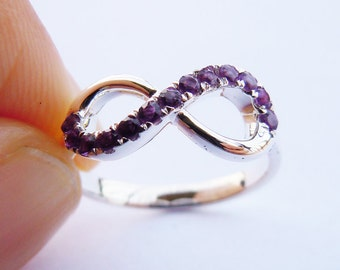 Infinity Ring in Sterling Silver&Amethyst Made to order All Sizes