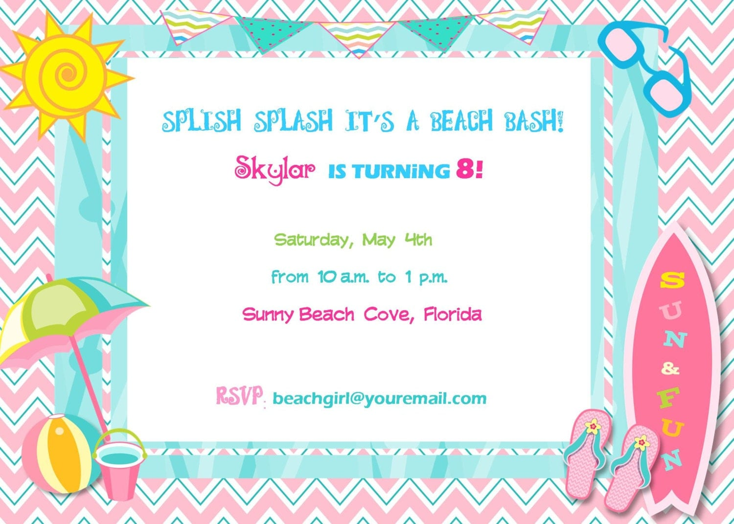 beach invitation birthday party baby shower digital diy