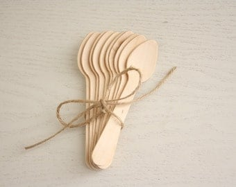 10 Wooden Small Spoons - wooden disposable cutlery teaspoons