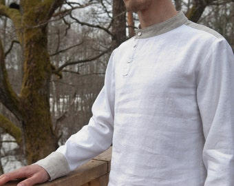 White linen handmade men's shirt