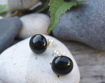 TERESA Black earrings with silver pins - hand cut fused glass jewelry