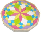 Mosaic Wooden Mandala Puzzle - Waldorf Toy -   Diamonds