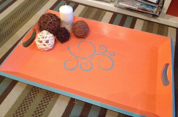 Repurposed vintage wood serving tray with hand stenciled details orange/aqua- REDUCED
