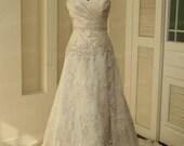 100% Handmade Applique Bead Ruffle Bust Bead Belt Lace Hem Wedding Dresses Weddings