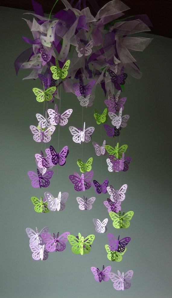 Sale Butterfly Mobile Lavender Purple Lime By