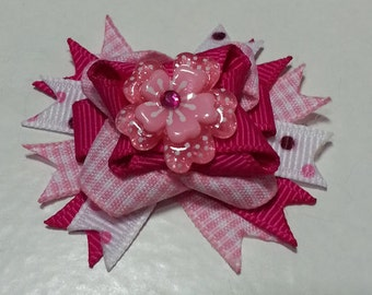 Mini Boutique Bow, Pink on Pink Flower Dog