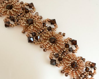 Crystal Bracelet - Seed Bead Bracelet in Mocha Brown Crystals & Gold Lustered Gold Seed Beads - Beadwoven Bracelet - Seed Bead Jewelry