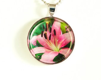 Pink Lily Photo Pendant Necklace - Photo Necklace - Photo Jewelry - Flower Pendant - Lily Pendant - 24 Inch Silver Plated Ball Chain Incl