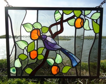 Stained Glass Panel 'Purple Martin'