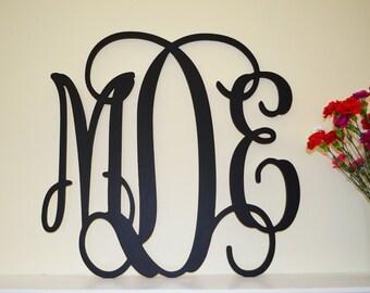 16'' Custom Wood Monogram in Vine Font, Wooden wall monogram, nursery decor, photo prop