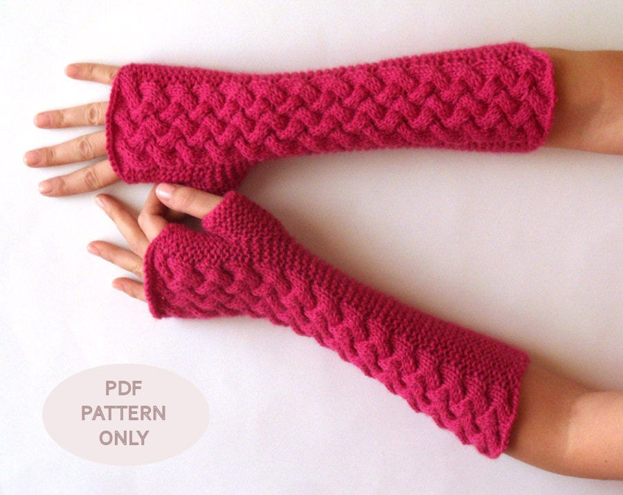 Knitting Pattern Of Gloves : PDF Knitting PATTERN Cable Fingerless Gloves by AimarroPatterns