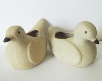 2 Gentle Doves Ceramic Candle Planter Love Bird Sculptures Home Living Planters Taupe