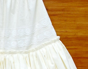Cream Cotton Petticoat Skirt