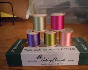 Belding Corticelli Silk Thread, 5 Spools