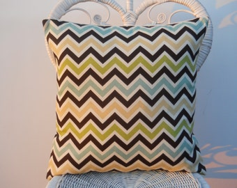 Chevron Pillow Cover, Indoor/Outdoor Pillow Cover, 18''x18'' Decorative Pillow Sham, Blue/Brown/Green/Ivory  Sun/Shade Pillow Cover