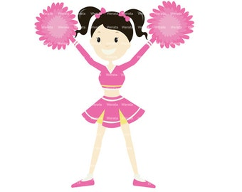 cheerleader clipart - cheerleader clip art - cute cheerleader - digital graphics - cheer graphics - Personal and Commercial Use