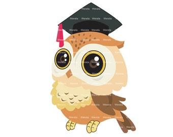 Graduation Owl Clipart Clip Art, graduation owl, education Clipart Clip Art, owl graphics, owl clip art - Personal and Commercial Use