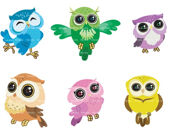 Items similar to owl clip art digital clipart - Cute Owl ...