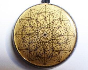 Sacred Flower Orgonite® pendant aura protect Orgone energy generator