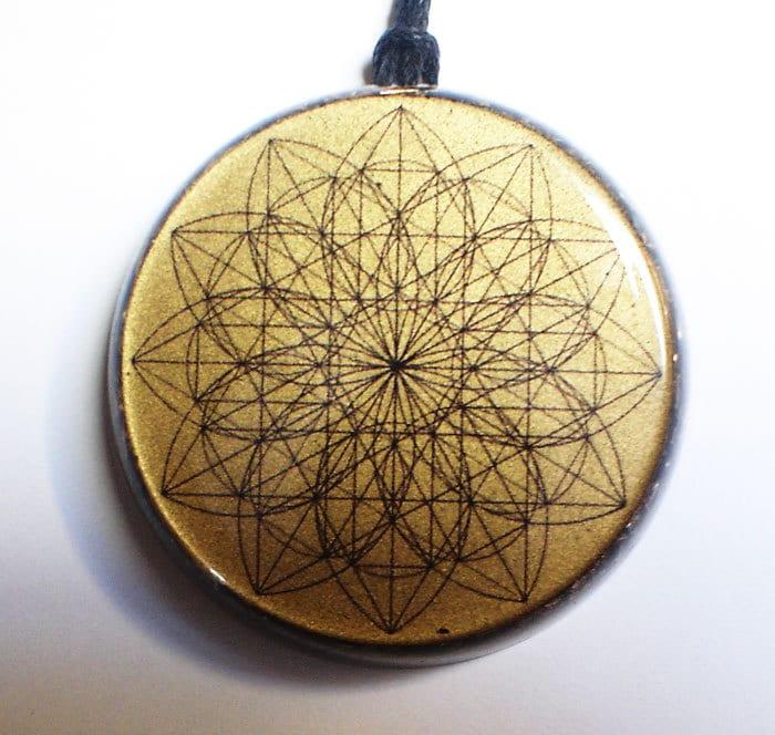 sacred flower orgonite 174 pendant aura protect orgone energy