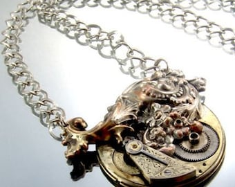 STEAMPUNK Vintage Pocket Watch Head Necklace, GORGEOUS, by Kay, 5233