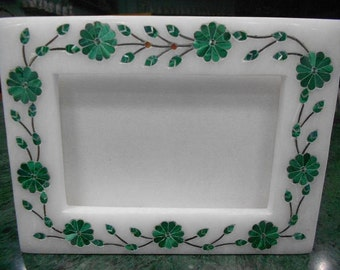 Photo frames Marble inlay picture frame hand made malachite stone inlaid pietra dura antique art
