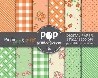 digital paper PICNIC Green & Orange, flower digital paper, gingham digital paper, BBQ invitation, summer celebration digital paper