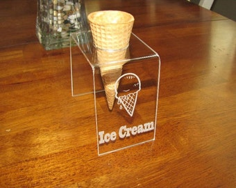 Engraved Acrylic Single Cone Ice Cream Cone Holder also great for Snow Cones