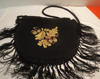 Antique Victorian Edwardian Drawstring Embroidered Purse