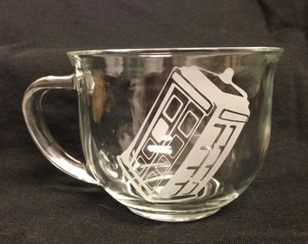 Flying TARDIS Doctor who Inspired Design Custom Etched Mug Glass  Coffee Tea Cup